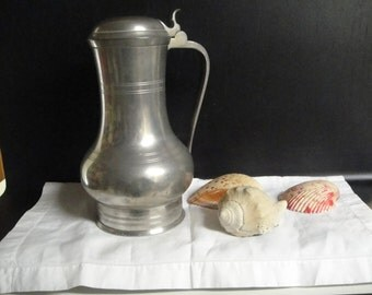 Antique lidded pewter pitcher made in Holland