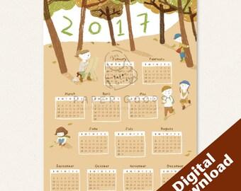 Printable Calendar 2017, Printable Calendar Months, Wall Calendar, Illustrated Calendar
