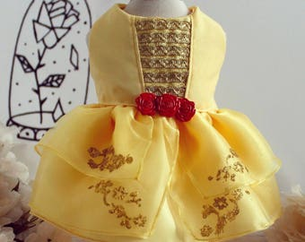 Belle dress, dog clothes, dog dress, puppy dress, beauty and beast dress, dog clothes, dog wedding