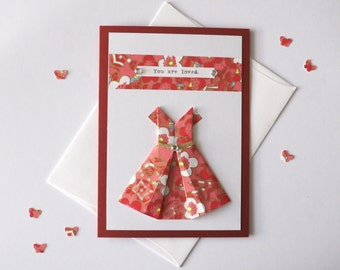 Handmade Origami dress card, Any occasion, Love cards, Blank folded card, Red and floral chiyogami, Hand-typed, A6 size card - You are loved