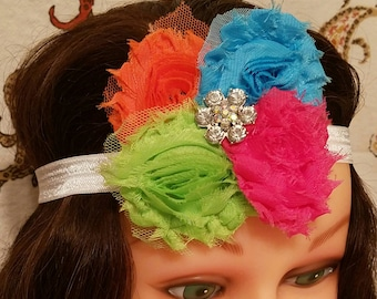 Shabby Flower - Rainbow - Headband