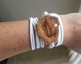 Druzy Leather Wrap Bracelet