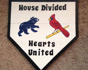 A House Divided Wooden Home Plate Sign