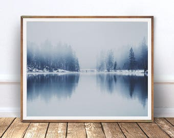 Blue Forest Lake Photography, Modern Minimalist, Digital download, Minimal Wall Decor, Scandi Print, Naturel Art, Large Poster