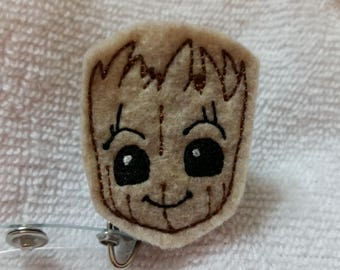 Groot ID Badge Holder - Baby Groot Felt Name Badge  - Guardians of the Galaxy  - Groot ID Badge - Groot Retractable Badge Reel - I am Groot