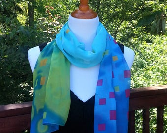 Summer scarf. Spring Scarf. Colorful art scarf. Gift idea.