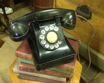 Antique Bell system Western electric black rotary telephone F1
