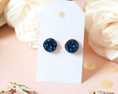 Druzy Earrings   Stud Earrings   Blue w/ Rose Gold Faux Druzy Studs   Gifts for Her   Bridesmaid Gift   Rose Gold Earrings  