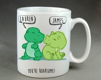 Personalised Cute Dinosaur Mug Anniversary Valentine's Day Couple Girlfriend Boyfriend Husband Wife Mum Dad Gift