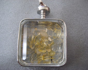 Citrine Shaker Silver Plated Pendant 1pc
