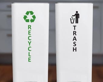 Large Recycle and Trash Sticker or Decal for Recycle Bin, Trash Can, Container - Vertical