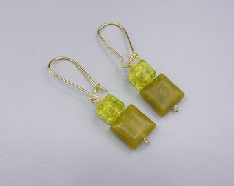 Oliv green Jade Earrings and lime green Glass Cube - Kidney Ear Hook