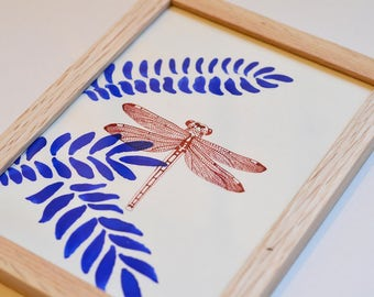 Design drawing of Dragonfly - original work - framed single - ink and pigments - A5