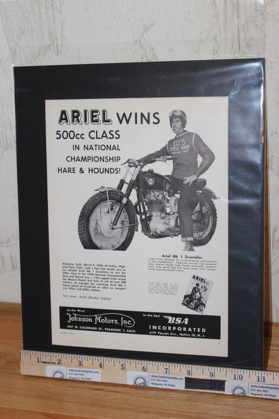 "1958 Ariel / Al Colley Win Hare & Hound Race 11"" x 14"" Matted Vintage Motorcycle Ad Art #5806amot11m"