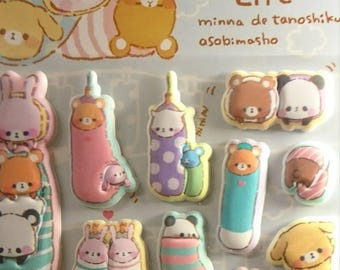 Mofumofu Life, super Puffy sticker sheet, crux sticker, kawaii sticker 3-D/ planner/ kids/ filofax