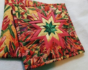 Folded star hotpads, potholders, Amish star, iris, hostess gift, red, yellow, green, gift, kitchen, dining room