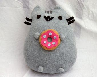 Large Pusheen the Cat  Plush with Donut