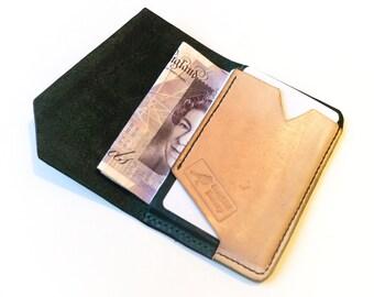 Minimalist wallet, front pocket wallet, leather wallet, card wallet, slim wallet, hand-stitched, hand-dyed, elegant