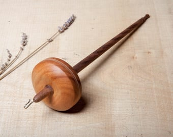Drop Spindle | Top Whorl | Sterling Silver Hook | Hand Crafted Drop Spindle | Hardwood | Goncalo Alves and Walnut