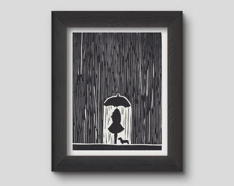 Girl & Dachshund Rain Lino Print Picture  - Reproduction
