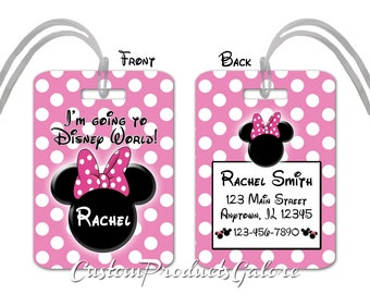 Minnie Mouse Luggage Tag, Bag Tag, Disney Luggage Tag, I'm Going to Disney World
