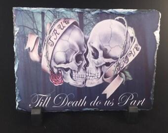 Till death do us part narutal rock skull gothic theme wedding gift sugar skull true love couples gift