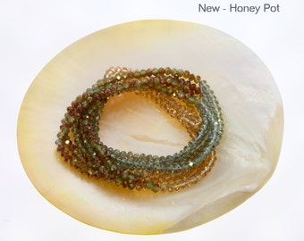 Honey Pot, Extra Long Semi-Precious Bead Single Row Necklace.