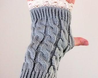 Winter fingerless mittens Women Fashion gloves Fingerless gloves Lace mittens Cristmas Gift