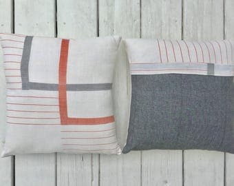 Custom Vintage Fabric Pillow 16 inch/ 40 cm square -- Linen Grey with Orange Double Square Orange Stripes