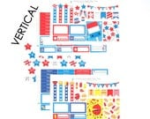 Happy 4th of July & Barbeque Sticker Set of 5 VERTICAL Erin Condren Life Planner ECLP Mambi Kawaii Cute Weekly Kit Patriotic Fireworks Grill