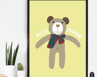 Baby Bear Doll Poster. Animal Bear art prints. Nursery Wall art. Nursery Decorating Ideas. Baby Shower Gifts.
