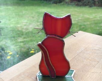 Cute Standing Ginger Cat Stained Glass suncatcher