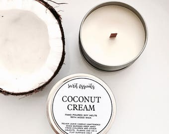 Coconut Cream Natural Soy Wax Tin Candle with Wooden Wick