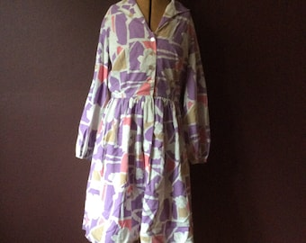 1960/70's Abstract Novelty Print Dress