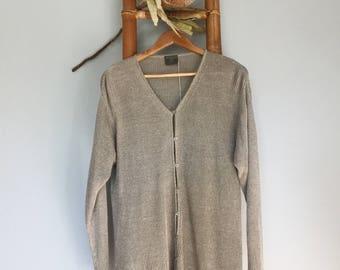 Natural Linen Knit Button Up Cardigan