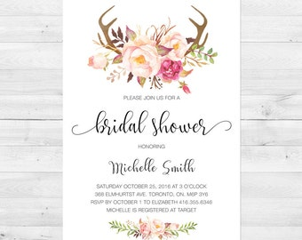 Bridal Shower Invitation, Bridal Shower Invite, Floral, Watercolor, Antler, Fall, Boho, Printable, Rustic Bridal Shower
