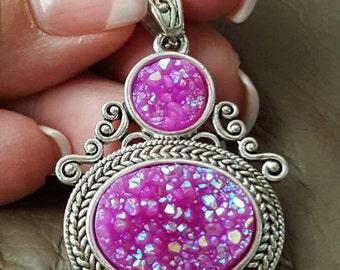 Hot Pink Titanium Druzy Pendant!