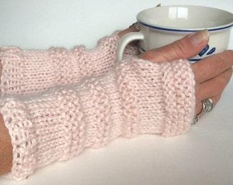 Blush Fingerless Gloves, Knit Wristwarmers, Knit Texting Gloves, Pink Knit Gloves, Pink Wrist Warmers, Pink Texting Gloves, Valentines Gift