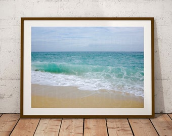 Water Photography, Water Print, Turquoise Wall Art, Turquoise Art, Art For Bathroom, Aqua Decor, Aqua Bathroom Decor, Aqua Bathroom, Waves
