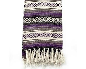 Purple & Gray Mexican Throw Blanket -  Aztec Design