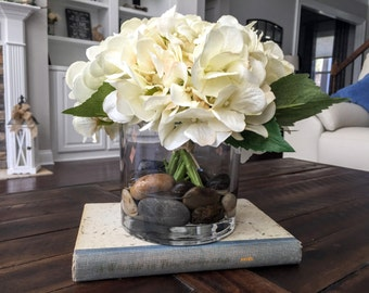 Silk floral arrangement: Cream  Hydrangeas in glass vase with faux water and decorative rocks, Perfect Gift