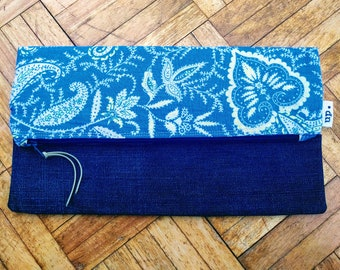 Handmade Blue Vintage Floral & Denim Clutch Bag