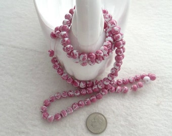 Double Strand of 6 mm Mottled Cranberry and White Glass Beads (1786)