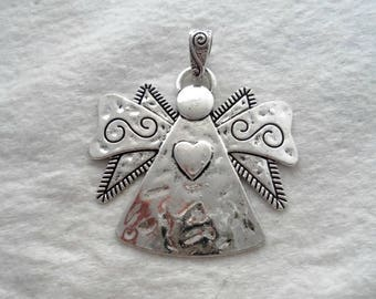 Antique Silver Angel Pendant, 68 mm Tall (1366)