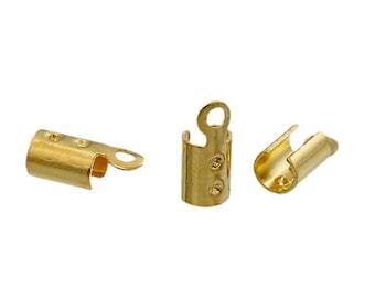 "200 Gold Plated Copper Crimp Cord Ends 8 x 3mm (Fits 2.3mm( 1/8"") Cord) (B204b/247j)"