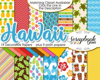 "HAWAII Digital Papers, 23 Pieces, 12"" x 12"", High Quality JPEGs, Instant Download pineapple volcano tiki totem tropical water beach ocean"