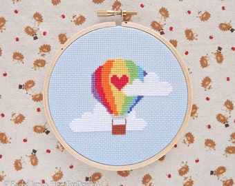 Rainbow Hot Air Balloon Cross Stitch Pattern PDF | Easy | Modern | Beginners Counted Cross Stitch | Instant Download