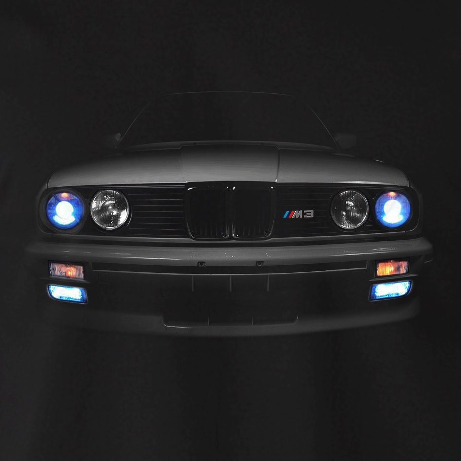 bmw e30 m3 t shirt headlights glow 3 series horse power. Black Bedroom Furniture Sets. Home Design Ideas