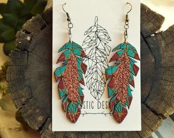 Teal/Metallic Geometric Feather Earrings