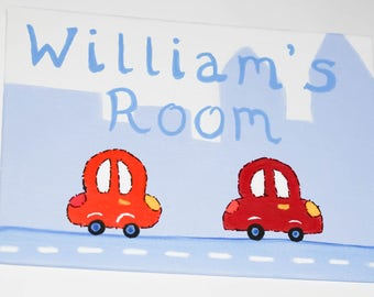 Childrens Boys Bedroom Door Sign Plaque Beep Beep Cars Painted Next To Any Name Or Wording